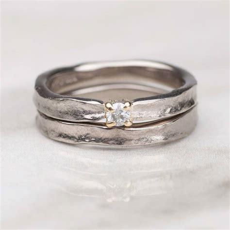 18ct white gold matching wedding rings wedding