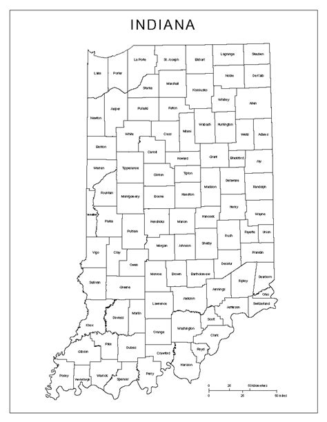map of indiana counties indiana labeled map
