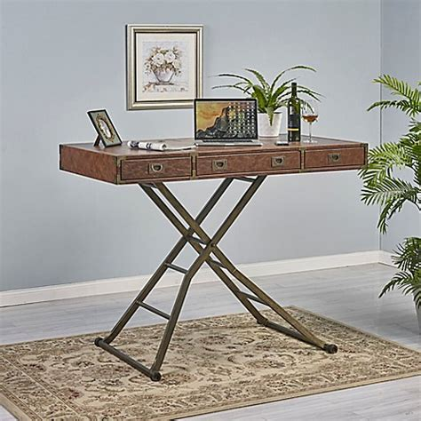 sit n stand desk turnkey sit n stand caign desk in brown bed bath beyond