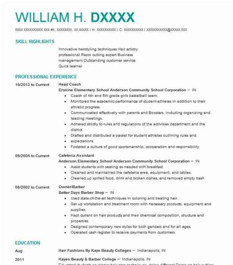 Barber Resume Accomplishments 923 barbers resume exles and spa resumes