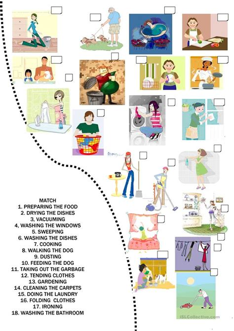 home chores 92 free esl chores worksheets