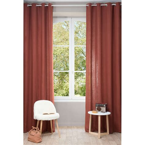 washed linen curtains washed linen eyelet curtain in cayenne red 130 x 300cm