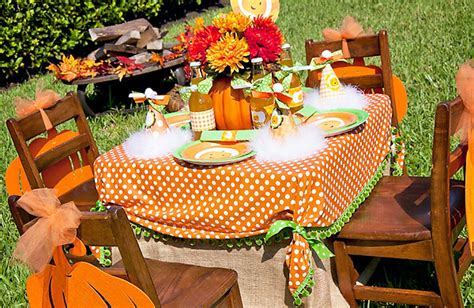 fall table setting party idea little pumpkin fall harvest birthday party design dazzle