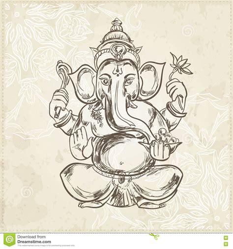 ganesha illustration tattoo hand drawn vector illustration of sitting lord ganesha