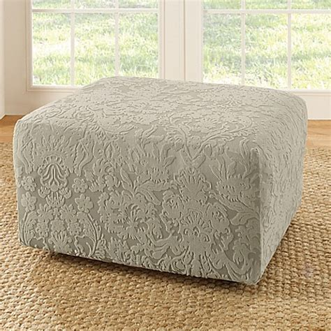 damask ottoman buy sure fit 174 stretch jacquard damask ottoman slipcover in