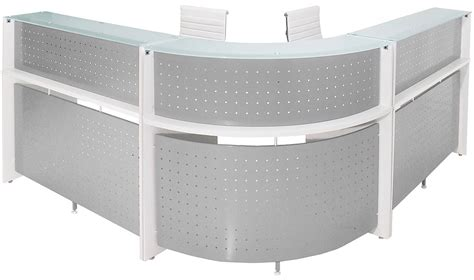 white glass table l white curved l shaped glass top reception desk