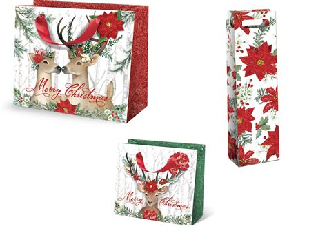 punch studio christmas gift bag set 2 large 2 medium or 2