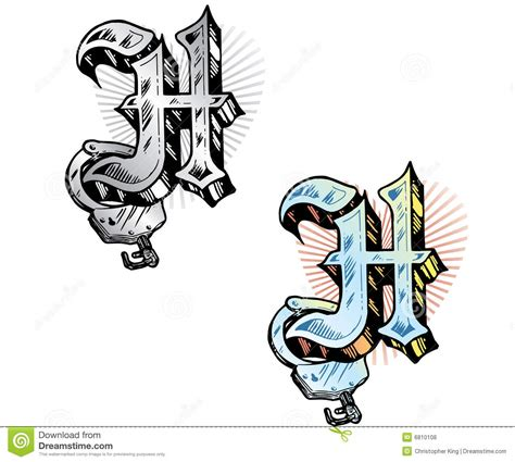 tattoo style letter h stock vector image of cuff hand