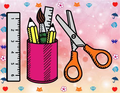 imagenes de utiles escolares coloreados dibujo de utiles escolares pintado por en dibujos net el