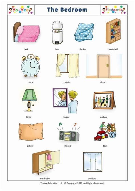 Bedroom Flashcards for Kids   Vocabulary Cards