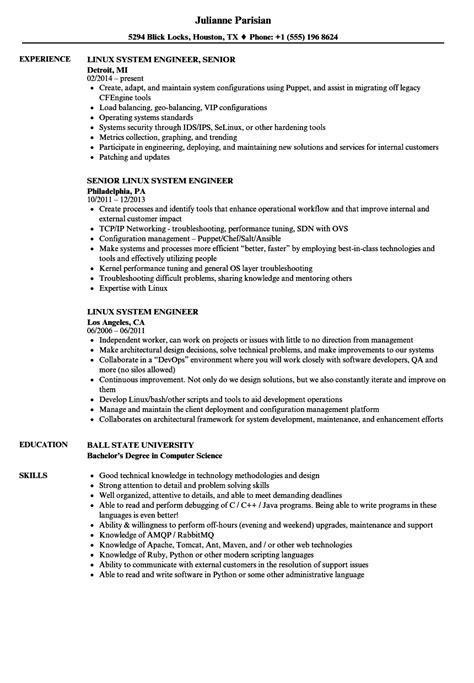 linux system engineer resume sles velvet