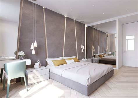 modern upholstered fabric wall panels with gray wall the angular upholstered headboard in this modern bedroom