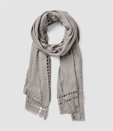 allsaints spine scarf in gray lyst
