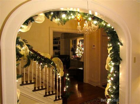 archway christmas garland and twinkle lights maybe with burlap garland holiday decorating
