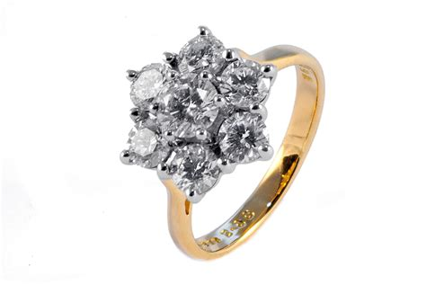 18ct gold 2ct 7 cluster ring