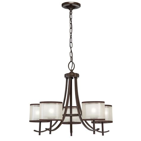 home depot pendant light shades hton bay 5 light bronze ceiling chandelier with organza