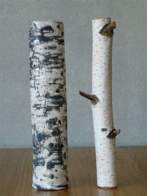 vase small birch raku ceramic tree branches trees