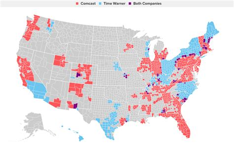 time warner coverage map comcast and time warner not much overlap at all