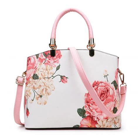 wholesale metal detail flower printed handbag pink
