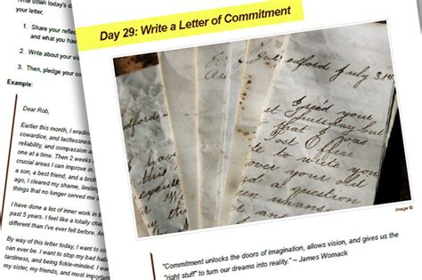 Commitment Letter To Yourself be a better me in 30 days program personal excellence