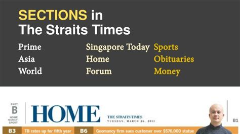straits times sections english language news report