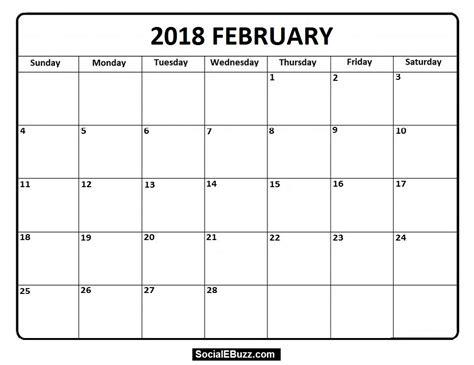 printable february 2018 calendar pdf february 2018 calendar printable template pdf with