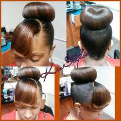 black hairstyles bun with bangs bun and bangs cute styles bangs buns ponytails up do s