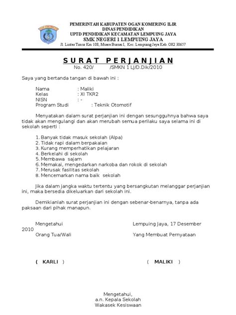 contoh format lop surat contoh surat pernyataan gallery download cv letter and