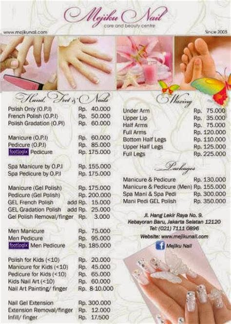 nail salon price list template gallery for gt nail salon price list template