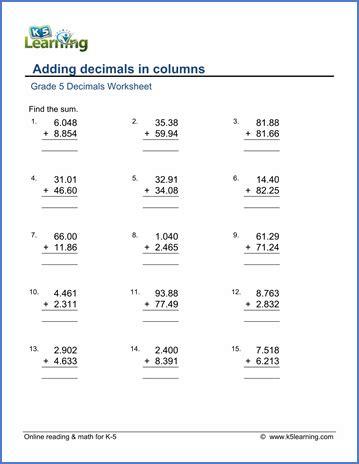math worksheets for grade k grade 5 addition subtraction of decimals worksheets k5 learning