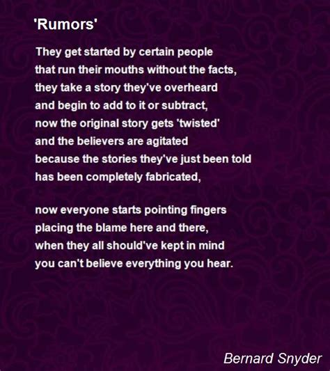 don t gossip synonym rumors poem by bernard snyder poem hunter comments page 1