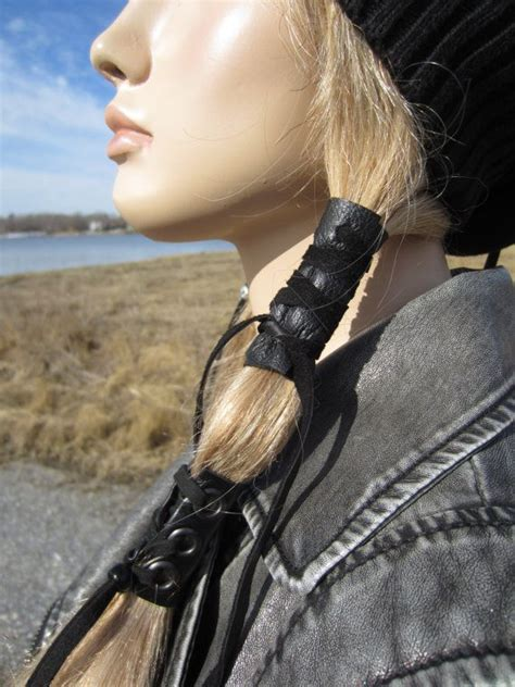 motorcycle ponytail hairstyles for women black leather hair wrap ponytail holder hair jewelry boho