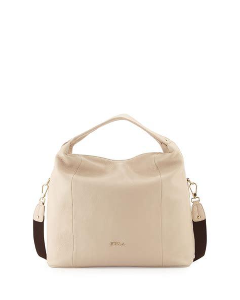 Furla With Pouch furla raffaella medium leather hobo bag in beige sand lyst