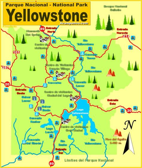 yellowstone usa map mapa parque nacional de yellowstone wyoming estados