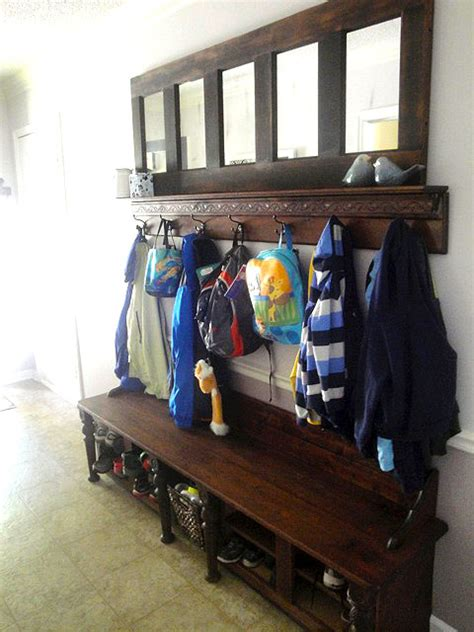 Coat And Shoe Rack With Bench by Entry Door Bench Plans Must See Sepala