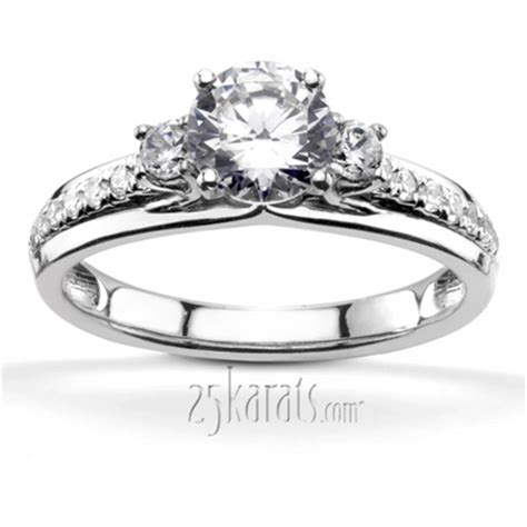 Trellis Setting Trellis Setting Three Engagement Ring With Accent