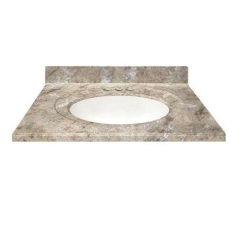 us marble 49 in cultured granite vanity top in river bottom color with integral backsplash and