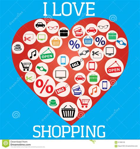 i love shopping icon and concept stock vector i love shopping icon and concept stock vector image