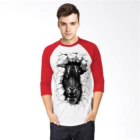 Tshirt Kaos Raglan Oneck Pria Cowok Putih Combed Murah jual t shirt 3d harimau kaos raglan pria