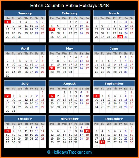 printable calendar 2018 bc canada british columbia canada public holidays 2018 holidays