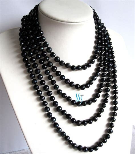 Black Necklace by Black Pearl Necklace 100 Inches 7 8mm Black By Pearlsstory