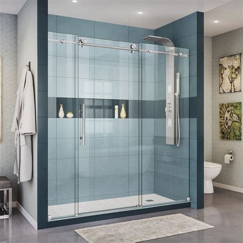 Sliding Shower Door Dreamline Enigma X 68 In To 72 In X 76 In Frameless Sliding Shower Door In Brushed Stainless