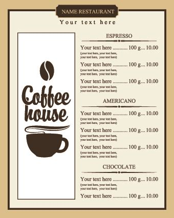 coffee menu template free free coffee shop menu design and layout templates to