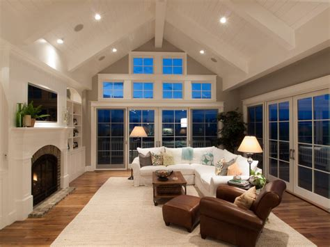 cathedral ceiling windows family room traditional with coffee table traditional wallpaper