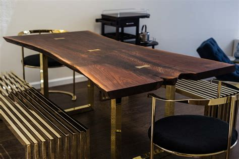 Steel Kitchen Island by Live Edge Wood Slab Tables And Furniture Re Co Bklyn