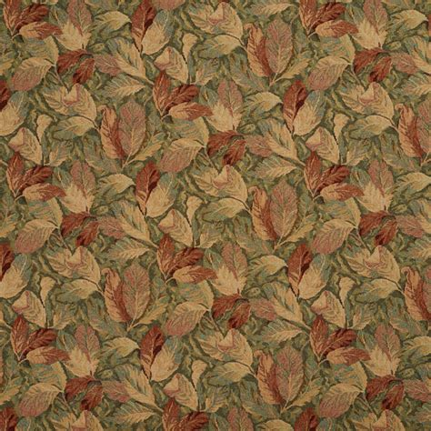 Burgundy And Green, Floral Leaves Tapestry Upholstery Fabric By The Yard   Traditional