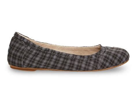Plaid Flats toms black and grey plaid s ballet flats in black lyst