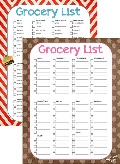 free printable grocery list blank miss priss purple grocery list printable