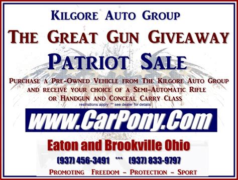 Great Gun Giveaway - bullet points buy a car get a gun bullet points