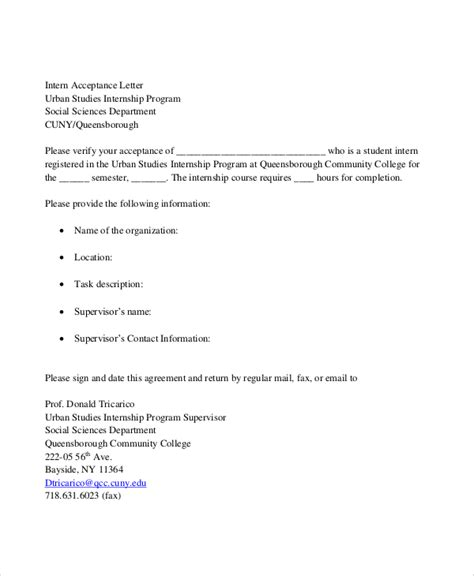 Acceptance Letter Into An Organization Sle Internship Acceptance Letter 6 Documents In Pdf Word